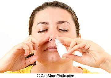 婦女, 使用, 鼻的水霧