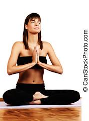 婦女, 做, 瑜伽, 沉思