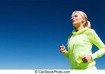 婦女, 做, 跑, 在戶外