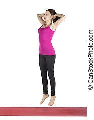 婦女, 做, 身体重量, 跳躍, 蹲, 為, 健身
