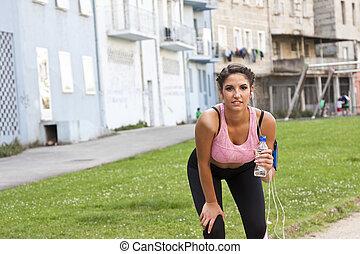 婦女, 做, 運動, 在戶外