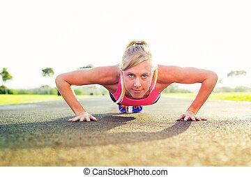婦女, 做, pushup