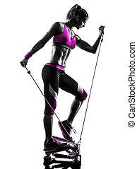 婦女, 健身, 步驟, 鍛煉, 黑色半面畫像