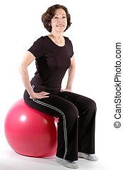 婦女, 健身 球