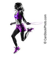 婦女, 健身, 跳繩, 鍛煉, 黑色半面畫像