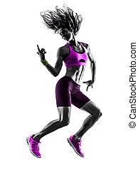 婦女, 健身, 跳躍, 鍛煉, 黑色半面畫像