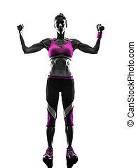 婦女, 健身, 重量, 鍛煉, 黑色半面畫像