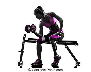婦女, 健身, 鍛煉, 重量, 身體建築物, 黑色半面畫像