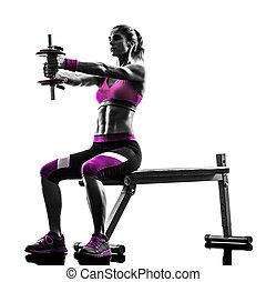 婦女, 健身, 鍛煉, 重量, 黑色半面畫像