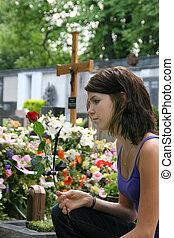 婦女, 公墓, 年輕