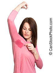 婦女, 出汗, 非常, 糟糕地, 在下面, armpit