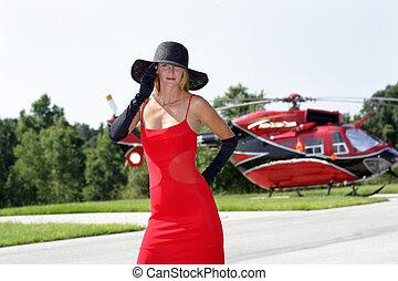 婦女, 前面, a, 直升飛机, (1)