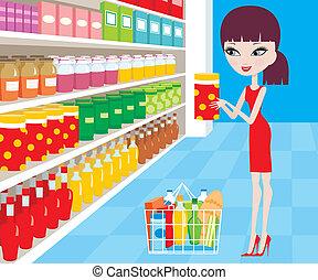 婦女, 卡通, 在, a, 超級市場