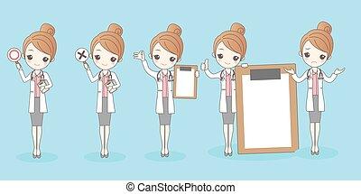 婦女, 卡通, 醫生