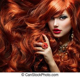 婦女, 卷曲, 長, 時裝, hair., 肖像, 紅色