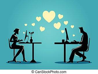 婦女 和 人, 聊天, 在網上, 上, the, 電腦