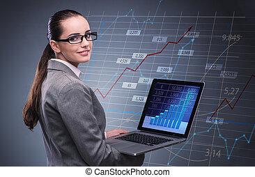 婦女, 商人, 工作上, 膝上型, 在, 股票貿易, 概念