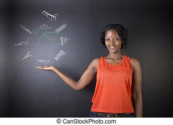 婦女, 噴气式飛机, 全球, 老師, 粉筆, 美國人, 學生, african, 世界, 或者, 南方, 旅行
