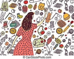 婦女, 圖畫, 手工造