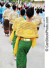 婦女, 在, 傳統, 泰國, 衣服