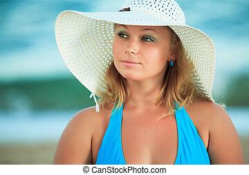 婦女, 在, 帽子