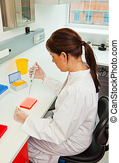 婦女, 在, 研究, 在, 研究實驗室