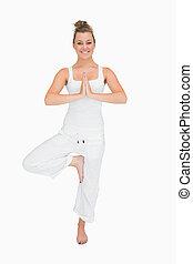 婦女, 在, 站立, 瑜珈矯柔造作