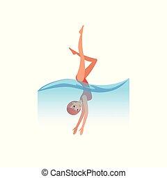 婦女, 在, 紅色, 游泳衣, 跳水, 進, the, 水, 水運動, 活動, 矢量, 插圖, 上, a, 白色 背景