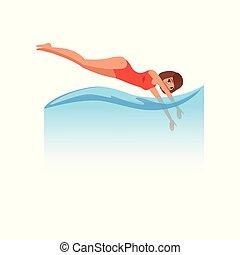 婦女, 在, 紅色, 游泳衣, 跳躍, 跳水, 進, the, 水, 水運動, 活動, 矢量, 插圖, 上, a, 白色 背景