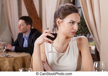 婦女, 在, 餐館