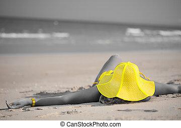 婦女, 在, 黃色, 帽子