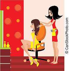 婦女, 在, a, 美容院