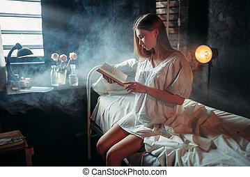 婦女, 坐, 醫院, 床, 書, 有病