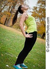 婦女, 執行, 伸展, 以前, 運動, 外面