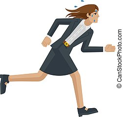 婦女, 壓力, 跑, 疲倦, 概念, 事務