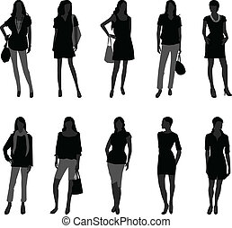 婦女, 女性, 時裝, 購物, 模型
