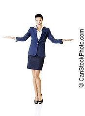 婦女, 她, 事務, 空間, 顯示, 年輕, 棕櫚, 模仿, 愉快