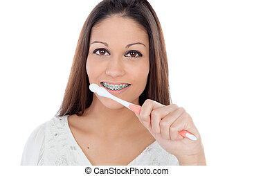 婦女, 她, 括起來, 年輕, 清掃, 牙齒, 有吸引力