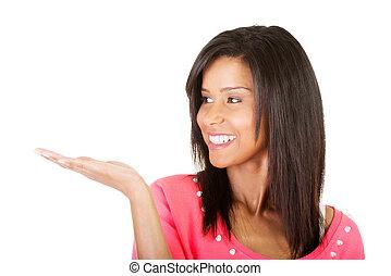 婦女, 她, 空間, 年輕, 棕櫚, 提出, 模仿, 興奮, 愉快