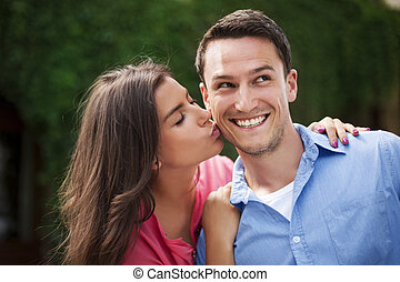 婦女, 她, 面頰, 年輕, 親吻, 男朋友