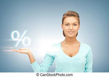 婦女, 她, 顯示, 百分之, 手, 簽署
