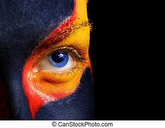 婦女, 她, face., 被隔离, 黑色, 藝術, 背景, 構成, 神秘, 肖像