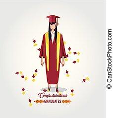 婦女, 字, avatar, 畢業生