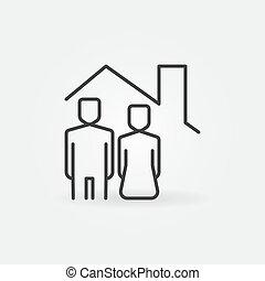 婦女, 屋頂, 房子, 在下面, 人, 圖象, 矢量, 線, 概念