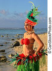 婦女, 島, 年輕, 太平洋, tahitian, 舞蹈演員, polynesian