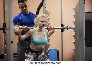 婦女, 工作在, 肌肉建造