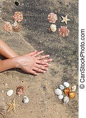 婦女, 年輕, 修指甲, 手