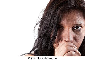 婦女, 年輕, 哭泣