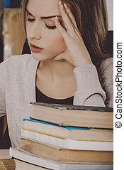婦女, 年輕, 圖書館