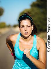 婦女, 強烈, 跑